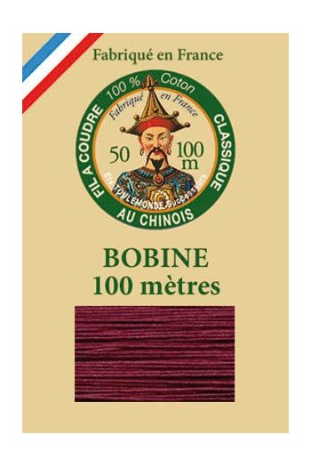 Fil Au Chinois cotton sewing thread - 100m spool 6548 - Aubergine