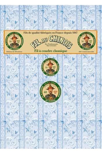 Farbkarte mit den 96 Farben des Baumwollnähgarns Fil Au Chinois