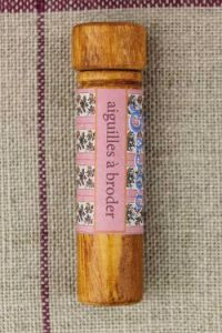 Hornbeam wooden needle case with embroidery needles