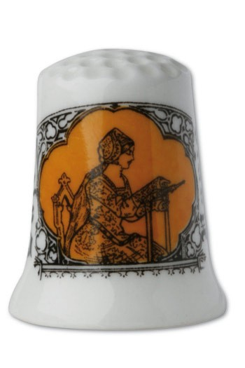 Fine white porcelain collectors thimble Embroiderer - orange
