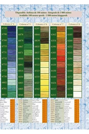 96 colour chart for Fil Au Chinois cotton sewing thread