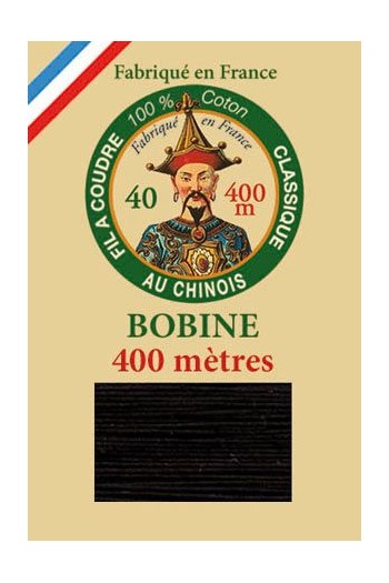 Fil Au Chinois cotton sewing thread - 400m spool 6180 - Black
