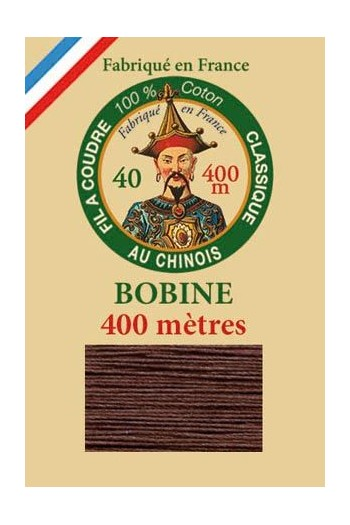 Fil Au Chinois cotton sewing thread - 400m spool 6117 - Brown
