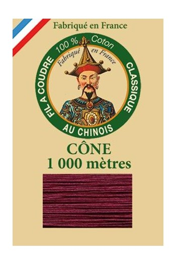 Fil Au Chinois cotton sewing thread 1000m cone 6548 - Aubergine