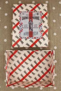 Storage vintage style box Laine Saint-Pierre label without tray