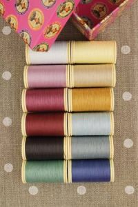 Box of 12 spools Assortment 3- vintage tones Patchwork thread
