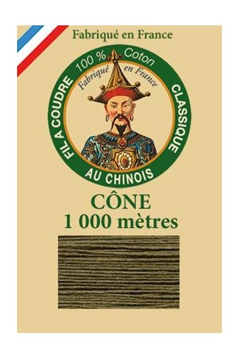 Fil Au Chinois cotton sewing thread 1000m cone 6844 - Dark olive