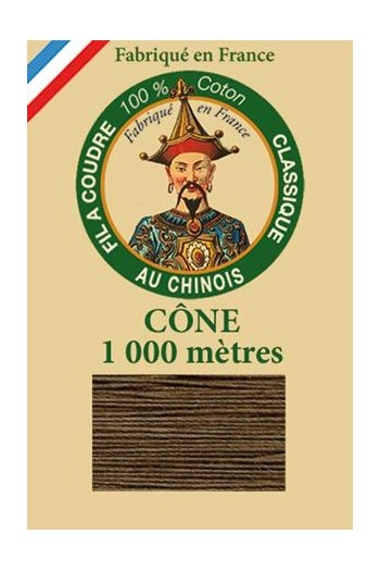 Fil Au Chinois cotton sewing thread 1000m cone 6213 - Coffee