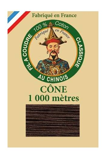 Fil Au Chinois cotton sewing thread 1000m cone 6105 - Chocolate