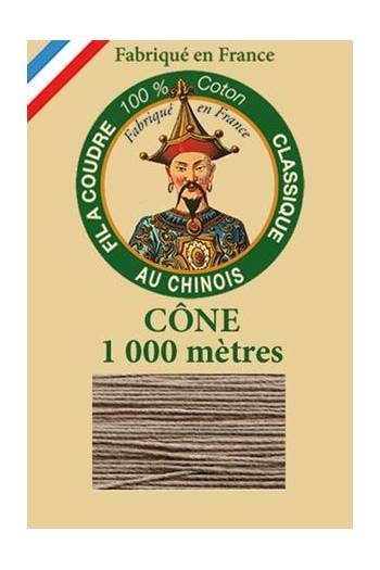Fil Au Chinois cotton sewing thread 1000m cone 6252 - Oatmetal