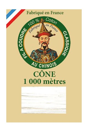 Fil Au Chinois cotton sewing thread 1000m cone 6100 - White