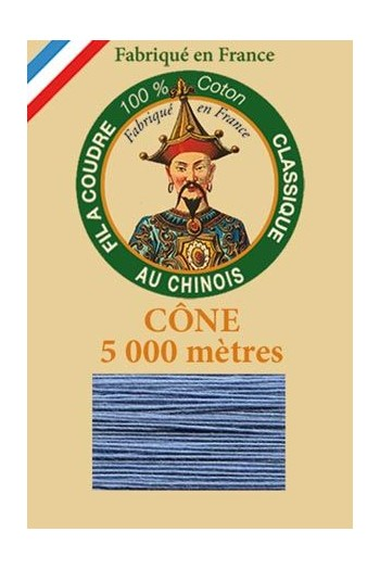 Fil Au Chinois cotton sewing thread 5 000m cone 6715 Grey blue