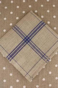 Large linen tea towel to embroider  natural/navy blue