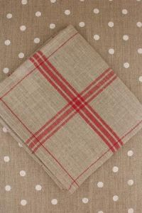 Large linen tea towel to embroider natural/red