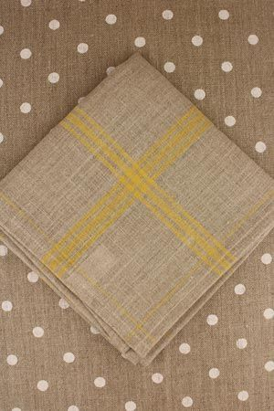 Large linen tea towel to embroider natural/yellow