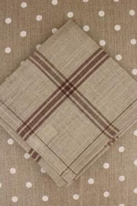 Large linen tea towel to embroider  natural/brown