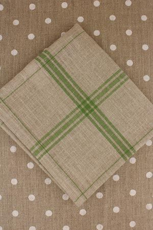 Large linen tea towel to embroider natural/green