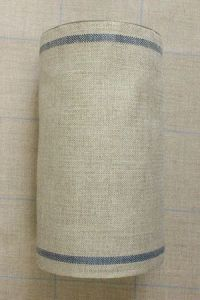 Linen band to embroider Width 20cm - by the metre - blue border