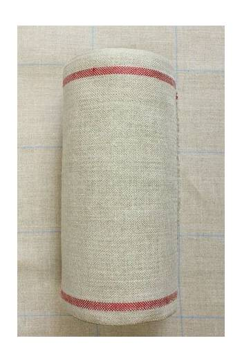 Linen band to embroider Width 20cm - by the metre - red border