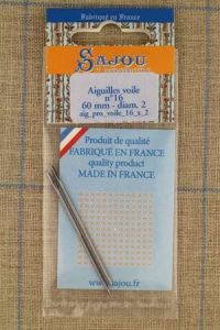 Two Sajou sail needles N°16, length 60mm, diametre 2mm