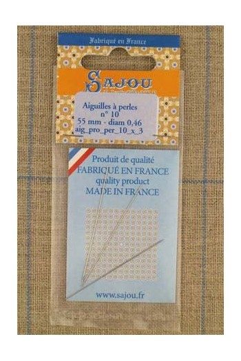 Three Sajou needles for bead threading size n°10, length 55mm, diametre 0.46mm.
