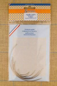 Six curved Sajou needles assortment, n°2 to n°7.