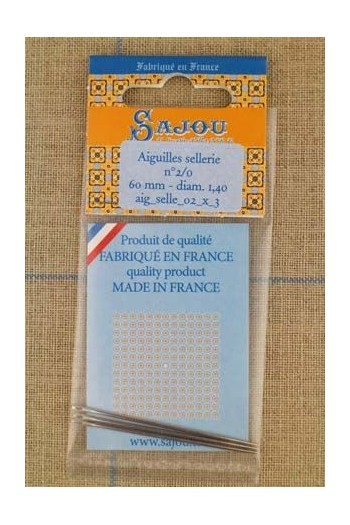 Three saddlery Sajou needles n°2/0, length 60mm, diametre 1.40mm.