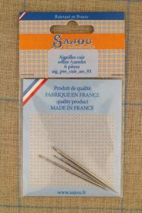 Six leatherwork Sajou needles assortment: Triangular n°3/0, n°5, n°7, Leather repair n°3/0, Saddlery n°2/0, n°5