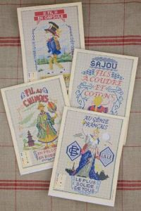 Red Sajou album n°901 : 4 cross stitch models with lables for sewing thread theme