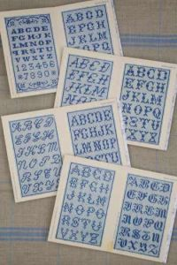 Blue Sajou album n°3 : 8 alphabets and numbers cross stitch
