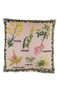 Small tinctorial plants embroidered on 12 count cyclamen linen