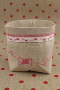 Cross stitch embroidery kit - pink spools linen pot