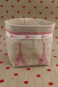 Cross stitch embroidery kit - Pink Eiffel Tower linen pot