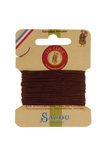 Fil Au Chinois waxed cable linen size 532 10m card - Colour 276 - Brown