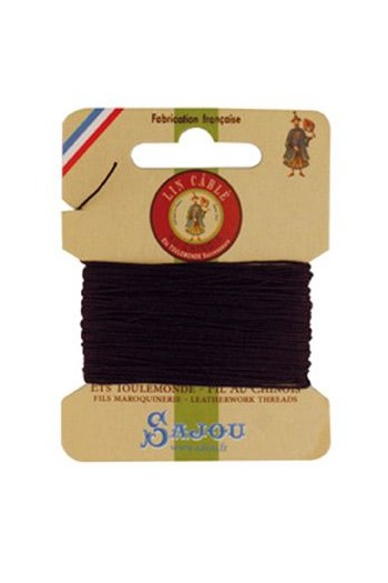 Fil Au Chinois waxed cable linen size 532 10m card - Colour 369 - Soil