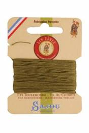 Waxed cable linen size 532 10m card - Colour 643 - Moss