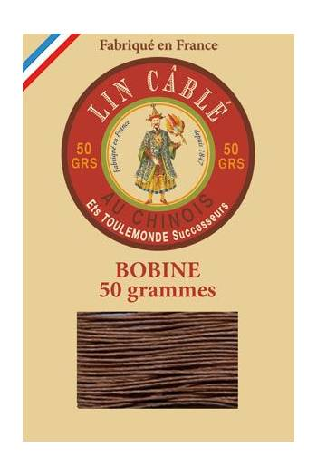 Fil Au Chinois waxed cable linen size 332 133m spool - Colour 276 - brown