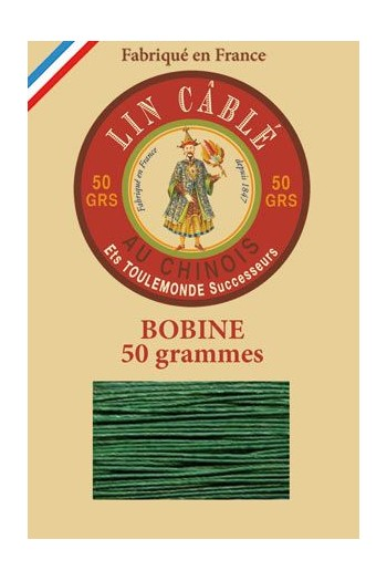 Fil Au Chinois waxed cable linen size 332 133m spool - Colour 767 - Green