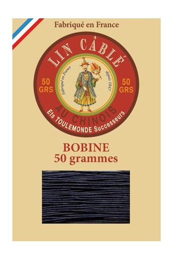 Fil Au Chinois waxed cable linen size 332 133m spool - Colour 246 - Navy
