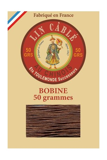 Fil Au Chinois waxed cable linen size 432 200m spool - Colour 276 - Brown