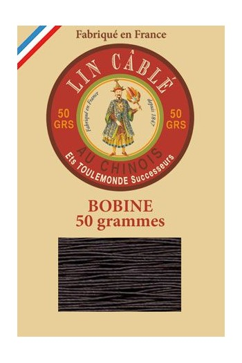 Fil Au Chinois waxed cable linen size 432 200m spool - Colour 901 Dark brown