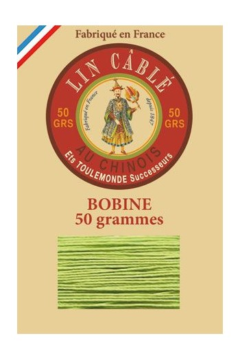 Fil Au Chinois waxed cable linen size 432 200m spool - Colour 455 - Light green