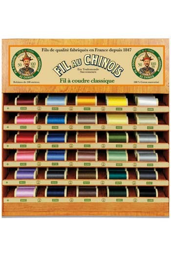 Fil Au Chinois thread display with 30 cotton thread spools - 100m