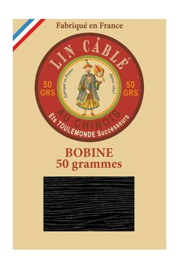 Fil Au Chinois waxed cable linen size 532 250m spool - Colour 180 - Black