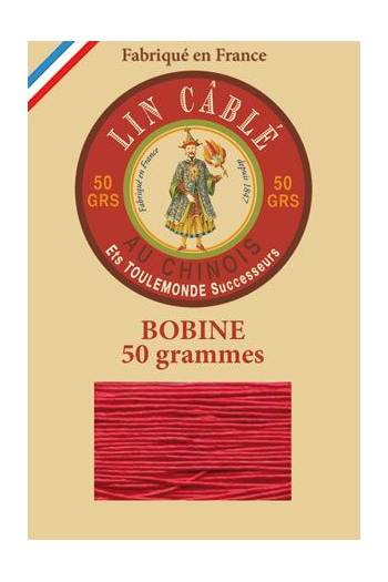 Fil Au Chinois waxed cable linen size 532 250m spool - Colour 128 - Red