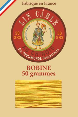 Waxed cable linen size 632 50g spool - Colour 508 – Yellow