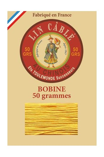 Fil Au Chinois waxed cable linen size 832 375m spool - Colour 508 - Yellow