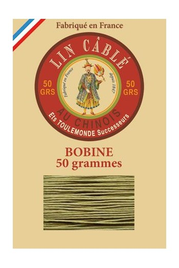 Fil Au Chinois waxed cable linen size 832 375m spool - Colour 643 - Moss