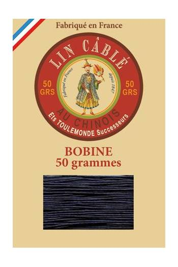 Fil Au Chinois waxed cable linen size 832 375m spool - Colour 246 - Navy