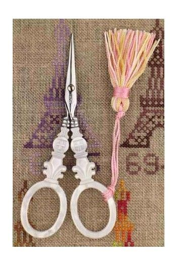 "Sajou mother of pearl style embroidery scissors - ""Cross"" model"